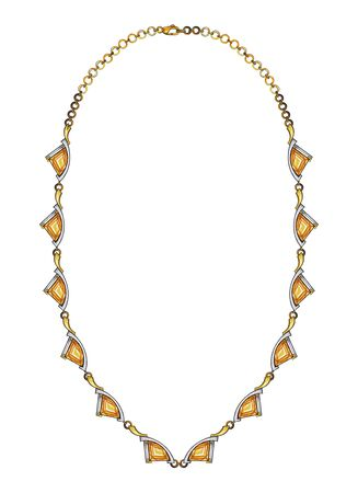 Jewelry Design Citrine Modern Art Necklace. Hand drawing and painting on paper.