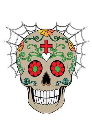 Art Sugar Skull Day of the dead.Hand drawing and graphic vector.