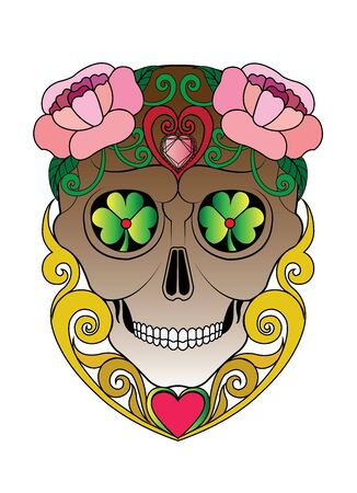 Art Vintage Mix Sugar Skull Day of the dead.Hand drawing and graphic vector.  イラスト・ベクター素材