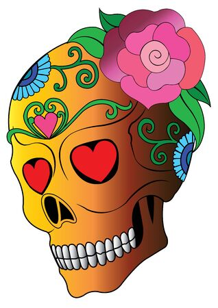 Art Sugar Skull Day of the dead. Hand drawing and  graphic vector. Vectores