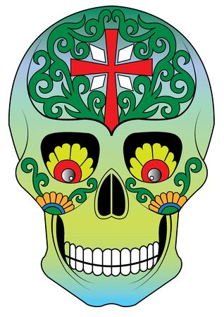 Art Sugar Skull Day of the dead. Hand drawing and  graphic vector. Ilustração