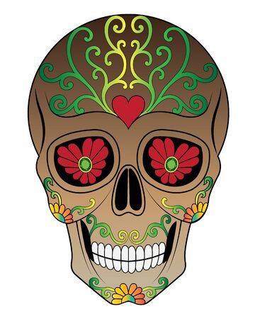 Art Sugar Skull Day of the dead. Hand painting and graphic vector.