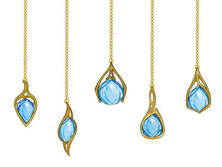 Jewelry design modern art jewelry gold blue topaz set pendant. Hand drawing and painting on paper. Imagens