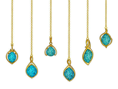 Jewelry design modern art jewelry gold turquoise set pendant. Hand drawing and painting on paper.
