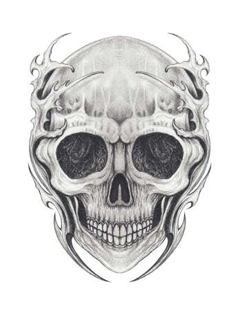 Surreal skull tattoo.Hand drawing on paper.