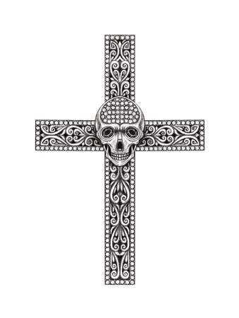 Jewelry design skull cross. Hand drawing on paper.