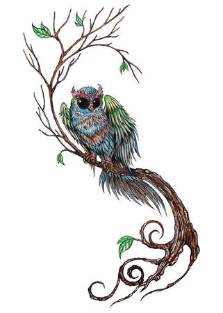 Art design owl on the tree.Hand painting on paper.