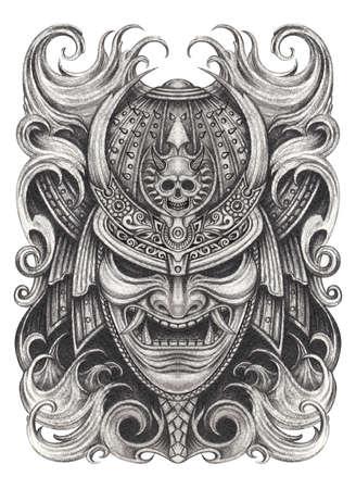 Samurai warrior tattoo design.Hand drawing on paper.