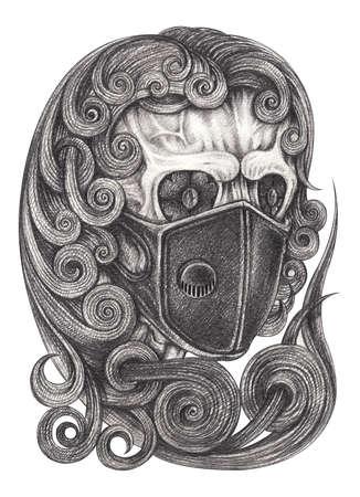 Coronavirus skull tattoo. Hand drawing on paper.