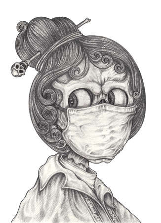 Coronavirus girl skull. Hand drawing on paper.