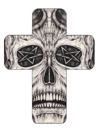 Surreal skull cross tattoo.Hand drawing on paper.