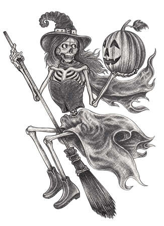 Skull witch halloween day.Hand drawing on paper.