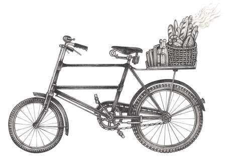 Vintage bicycle with a basket of bread and your style. Hand drawing on paper.