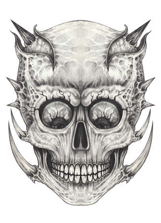 Surreal skull tattoo. Hand drawing on paper.