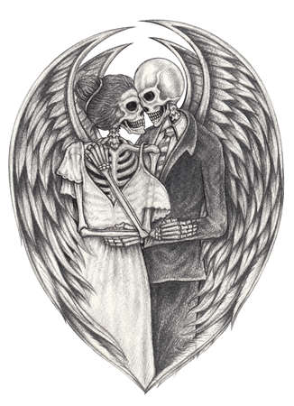 Angel couples skull.Hand drawing on paper.