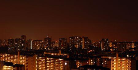 hdb: Singapore residential night scene