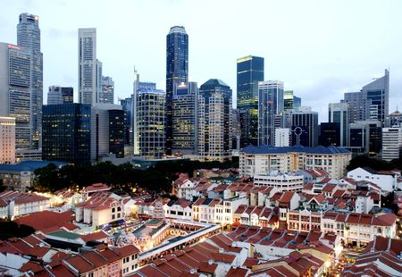 chinatown: Singapore cityscape at dusk Stock Photo