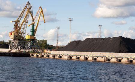 Crane at Ventspils, Latvia Stock Photo