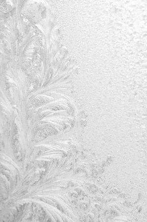 Ice pattern on window white colour photo