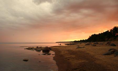 Orange sunset on baltic sea