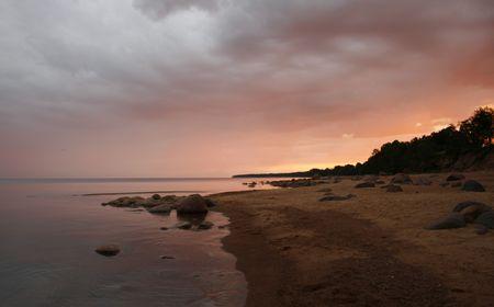 Purpure sunset on baltic sea