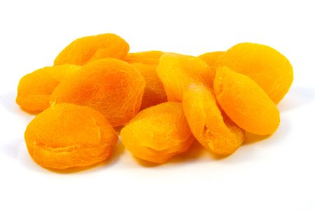 dried apricots isolated on white background photo