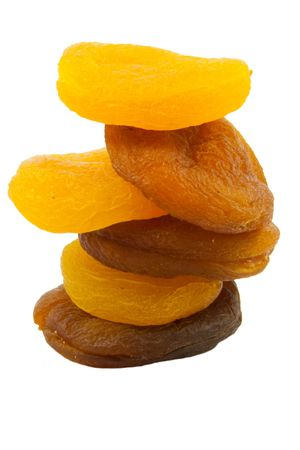 dried natural and sulfured apricots isolated on white background Stock Photo
