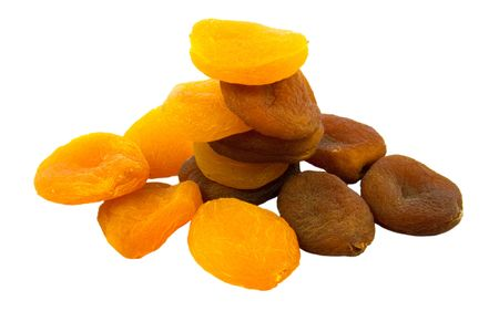 dried natural and sulpfured apricots isolated on white background