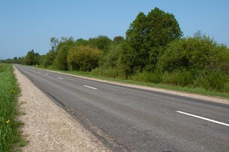 Local road to village thru green grass photo