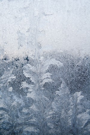 Ice pattern on window white colour
