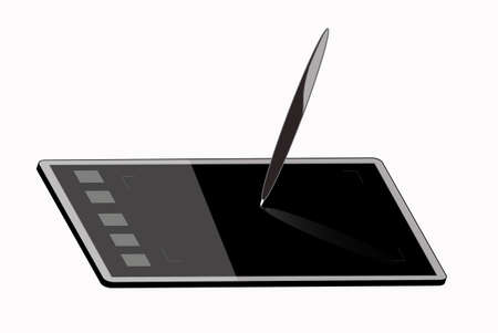 drawing tablet images on a computer Vector
