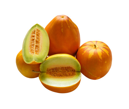 mush: Muskmelons or Mush melons same family with Honeydew  Cantaloupe isolated on white background