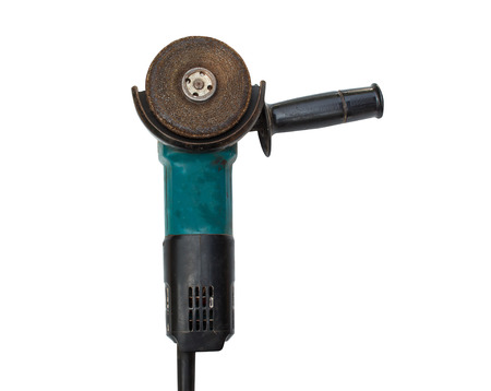 grinder machine: Old Grinder machine with cutting wheel on white Stock Photo