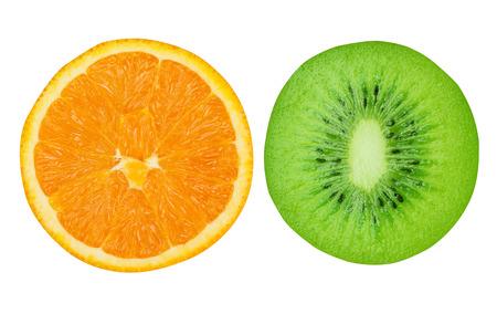 squelch: Kiwi and orange isolated on white background Stock Photo