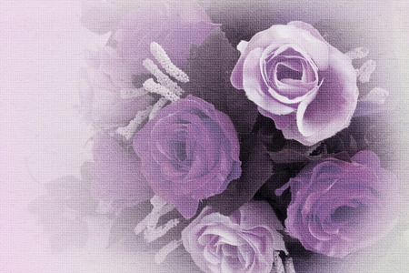 Beautiful flowers made with color filters in soft and blur style on mulberry paper texture photo