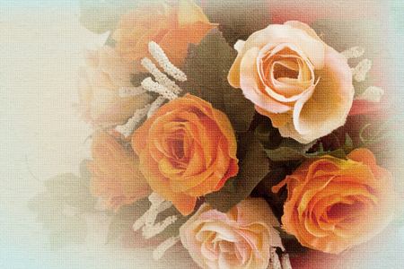 filters: Beautiful flowers made with color filters in soft and blur style on mulberry paper texture Stock Photo