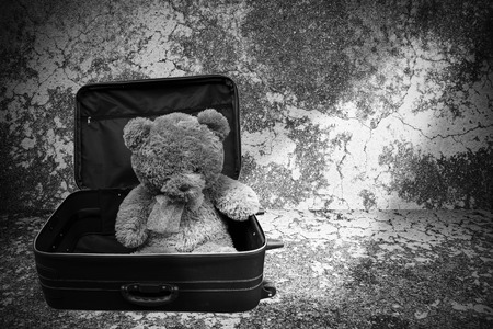 valentine s day teddy bear: Still life of teddy bear in luggage on black and white