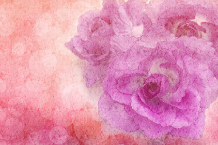 parejas romanticas: Beautiful flowers made with color filters on mulberry paper texture