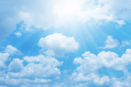 Beautiful blue sky with sun for background Stock Photo
