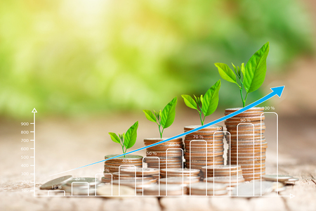 Stos monet i rosnący wykres koncepcji finansowania biznesu