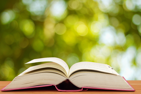 Open book on table in front of green bokeh background