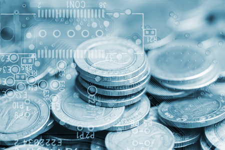 Double exposure of stack of coins and graphics card for business finance concept 免版税图像