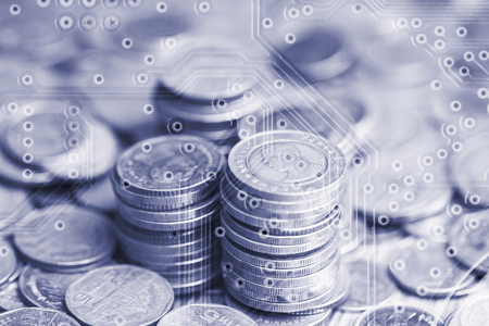 Double exposure of stack of coins and graphics card for business finance concept Imagens