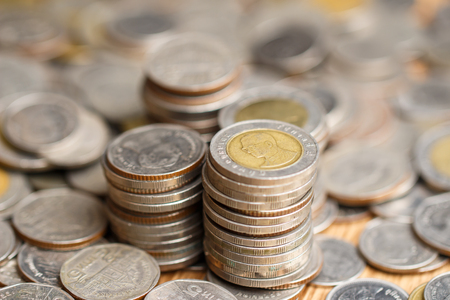 Stack of thai coin (baht) ,selective focus