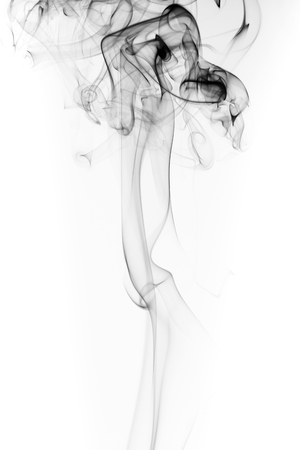 Abstract black smoke swirls and curves on white background
