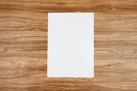 White template paper and space for text on wooden background Banque d'images