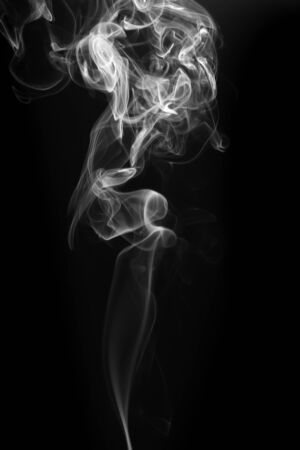 Movement of white smoke on black background Banque d'images