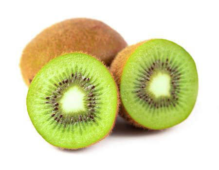 Close up kiwi fruit and slice kiwi isolated on the white background