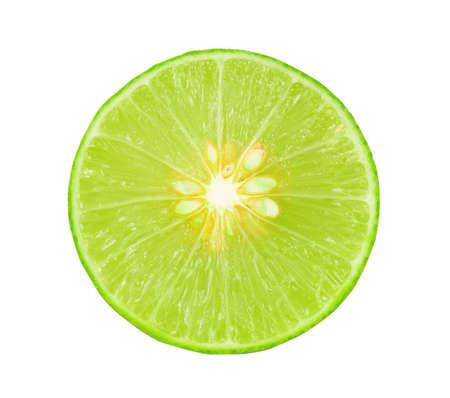Fresh lime sliced isolated on white background
