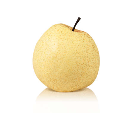 Yellow pear fruit isolated on white background 免版税图像